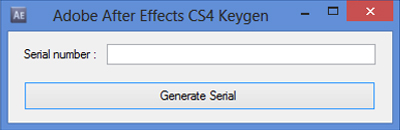 Adobe After Effects CS4 serial key