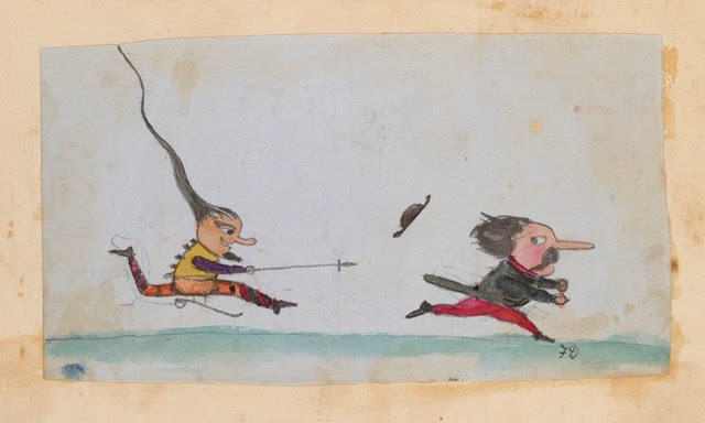 An imp chases a soldier. Doodle on Origin of a Species manuscript made by Charles Darwin's children. Illustrated By . . . marchmatron.com