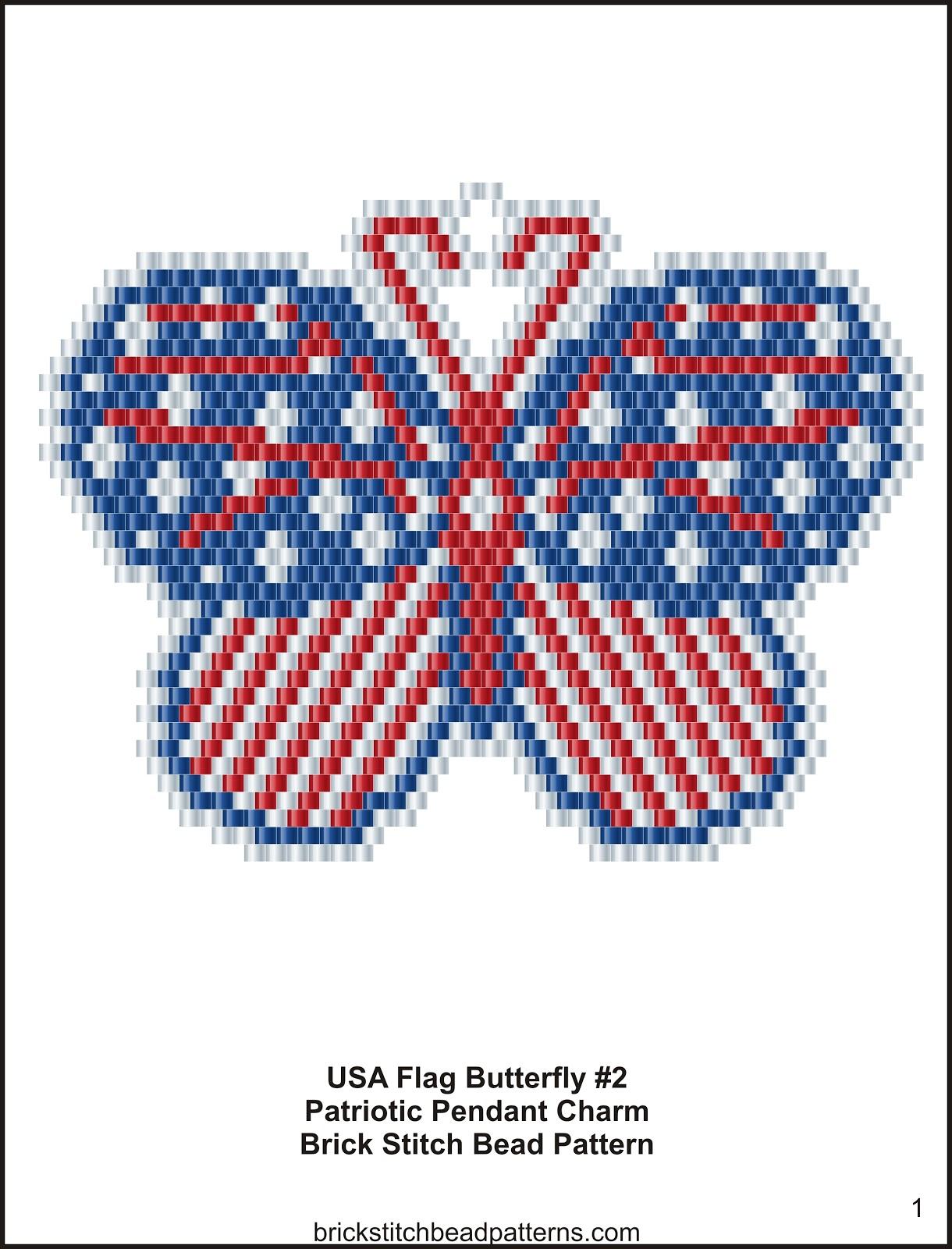 Brick Stitch Bead Patterns Journal Usa Flag Butterfly 2