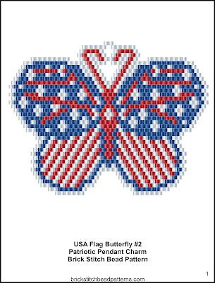 Free brick stitch seed bead pendant pattern color chart.