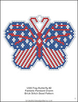 Free 4th of July patriotic brick stitch seed bead pattern printable pdf.