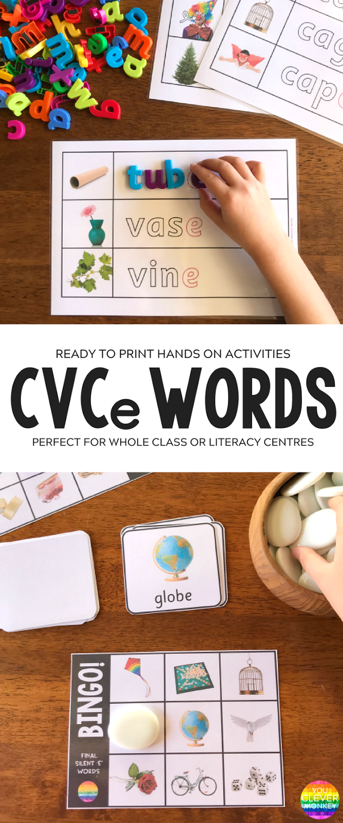 Teaching CVCe Words - helping young children to read and spell those tricky final silent 'e' words | you clever monkey