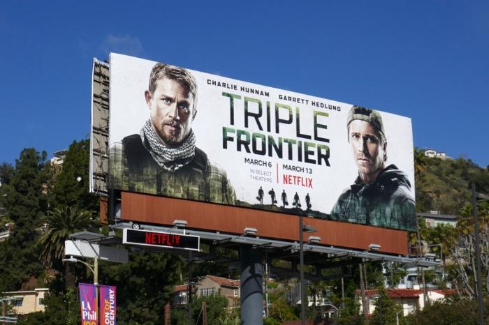 Charlie Hunnam Garrett Hedlund Triple Frontier billboard