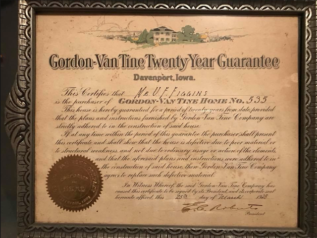 20 year guarantee certificate from Gordon-Van Tine company for Uriah Figgins' house in Ooltewah TN, signed by E. C. Roberts