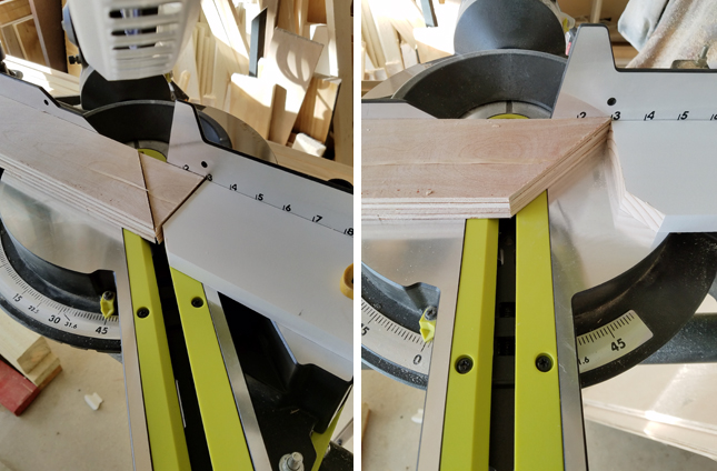 Ryobi miter saw used to cut square pieces of wood