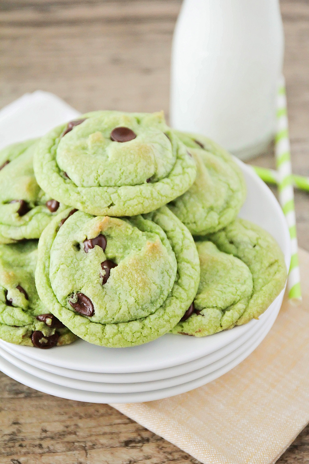 These mint chocolate chip cookies have the perfect touch of mint flavor and are loaded with melty chocolate chips. Perfect for St. Patrick's Day or any time!
