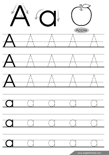 Letter a tracing worksheet, English linguistic communication for kids