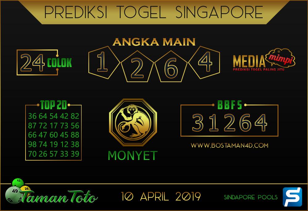 Prediksi Togel SINGAPORE TAMAN TOTO 10 APRIL 2019