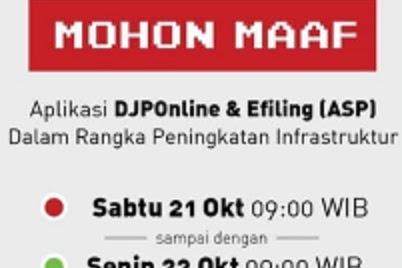 Downtime Aplikasi DJPOnline Bulan Oktober 2017