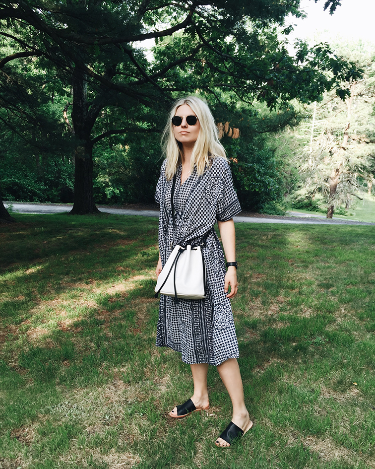 heleneisfor, Emeron Fry dress, Sol Sana sandals, Longchamp bag, Ray-Ban sunglasses