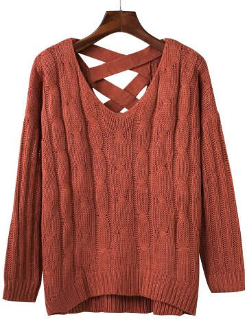 Loose Criss Cross Cable Knitted Sweater
