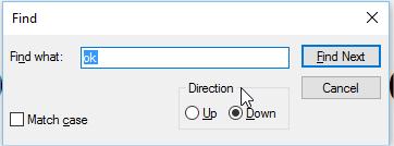 डॉक्यूमेंट में कुछ खोजने के लिए कीबोर्ड शॉर्टकट