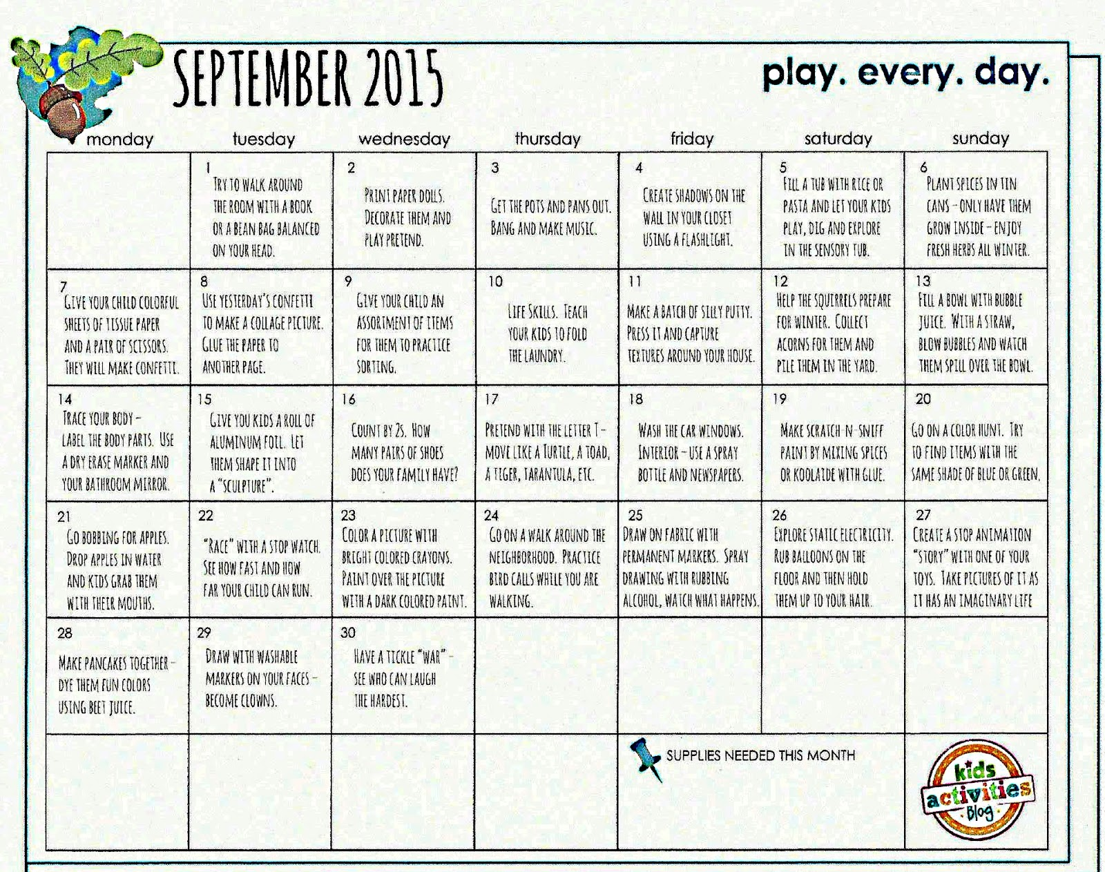 Kindergarten And Mooneyisms September Play Calendar