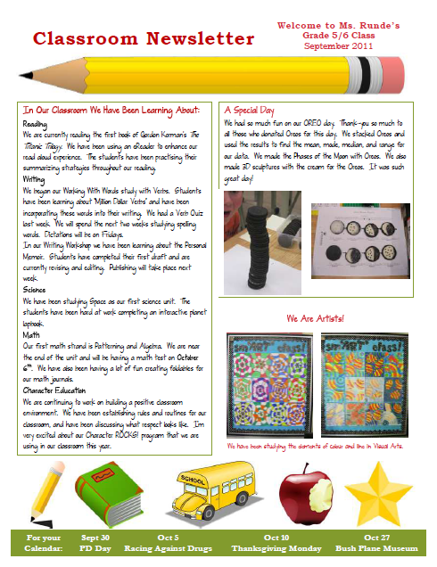newsletter Teacher Newsletter Templates Free on