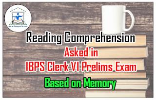 Reading Comprehension Asked in IBPS Clerk VI Prelims Exam 26th Nov 2016 (2nd  slot) - Based on Memory