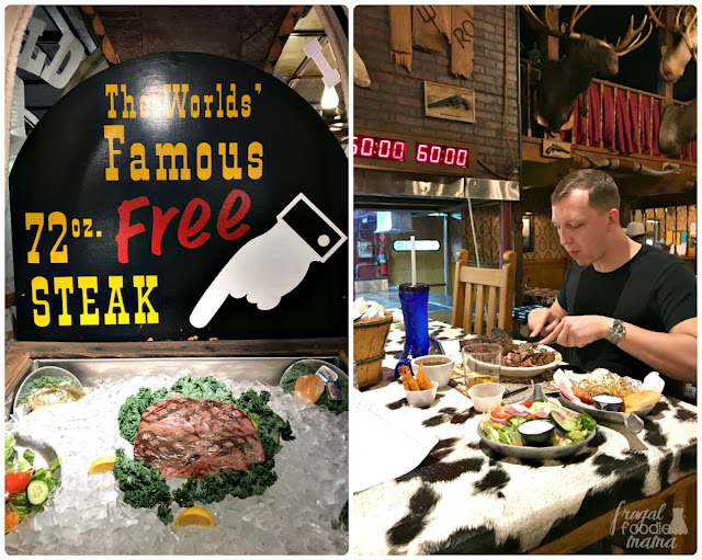 The Big Texan's biggest claim to fame is their World Famous Free 72-oz. Steak Dinner. Free, that is, if you can devour the entire steak and all the fixings (3 fried shrimp, garden salad, baked potato, & dinner roll) in 60 minutes or less!