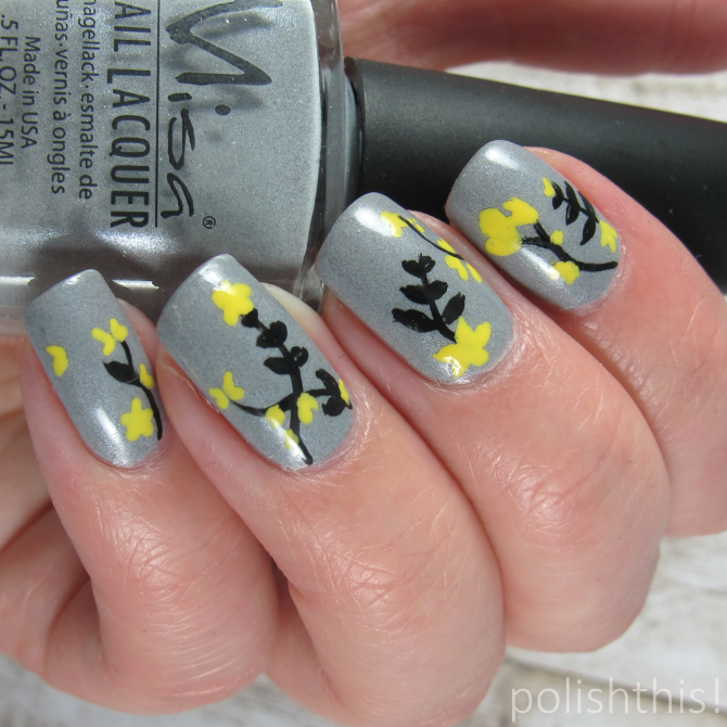 Black And Yellow Flower Nail Art Polish This