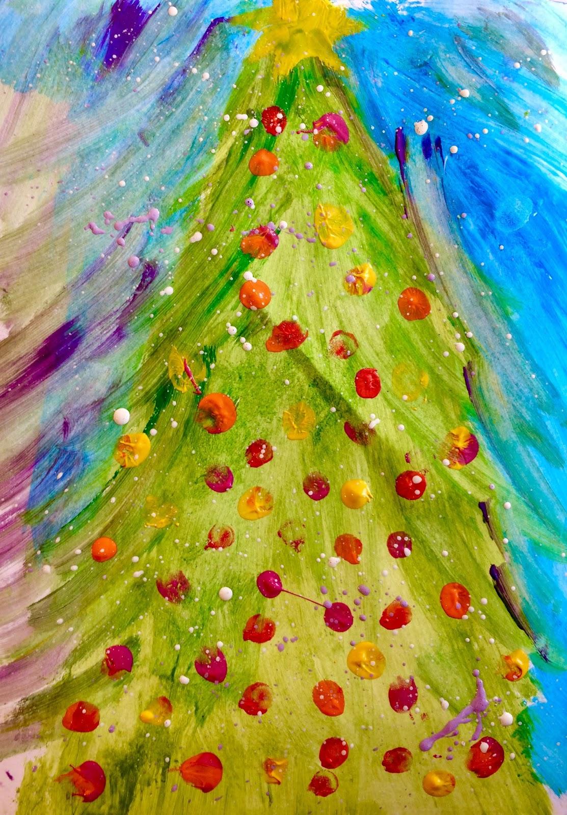Bradul de Crăciun- dactilopictură