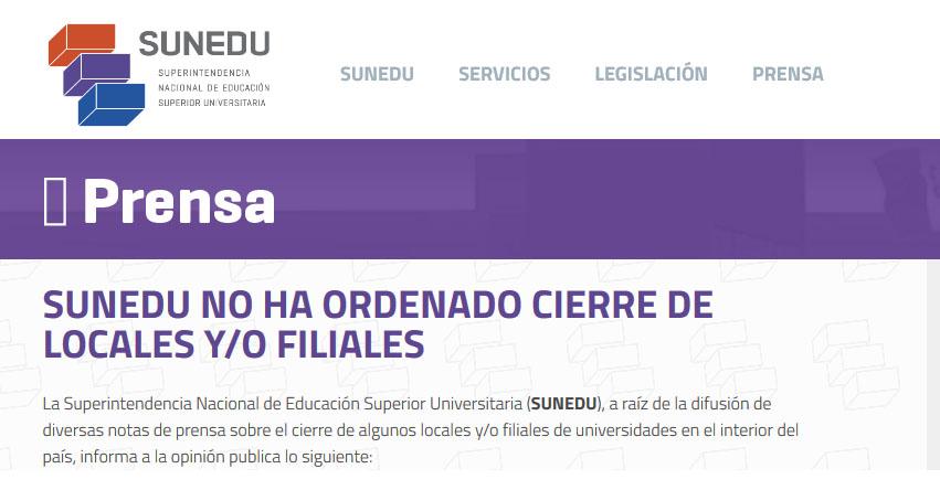 SUNEDU no ha ordenado cierre de locales y/o filiales de universidades en el interior del país - www.sunedu.gob.pe