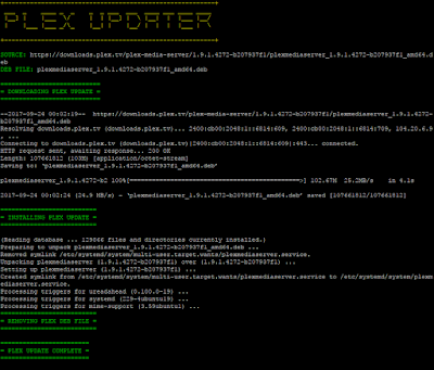 image of 'updateplex.sh' output