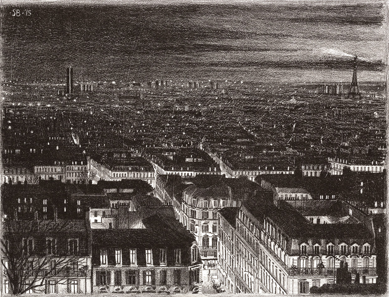 06-Paris-Evening-lithography-Stefan-Bleekrode-Detailed-Architectural-Drawing-from-the-Imagination-www-designstack-co