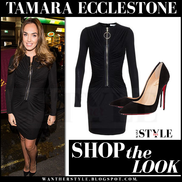Tamara Ecclestone in black draped zipper givenchy mini dress what she wore event outfit