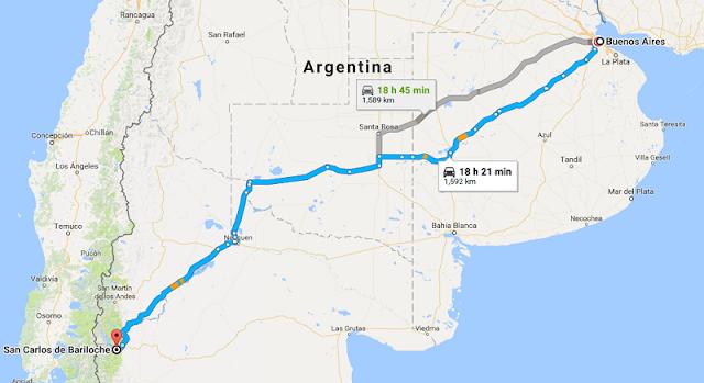 Trajeto da viagem de carro de Buenos Aires a Bariloche