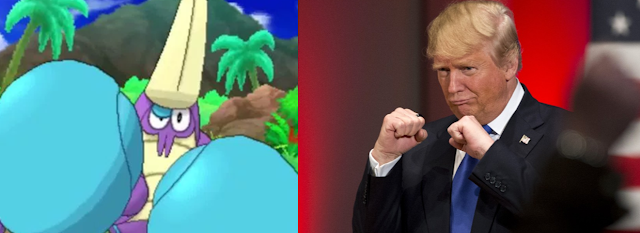 Crabrawler Donald Trump fists up fighting stance ready to fight Pokémon