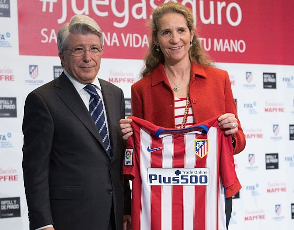 Princess Elena of Spain and president of Atletico de Madrid Enrique Cerezo present 'Play Safety' (Juega Seguro) campaign