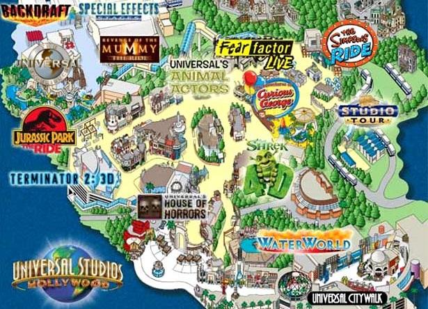 Estúdios de cinema no Universal Studios Hollywood em Los Angeles