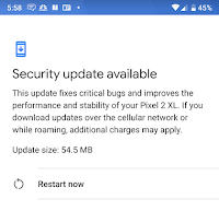 Pixel 2 XL update comes in at 54.4MB