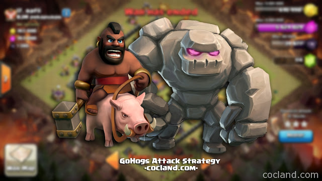 Attack Strategi Untuk Town Hall 8 GoHogs Terkuat, Strategi Menyerang Town Hall 8 GoHos, Strategi Menyerang Menggunakan Golem dan Hogs Clash Royale, Attack Strategi TH 8 Golem Hogs Terkuat.