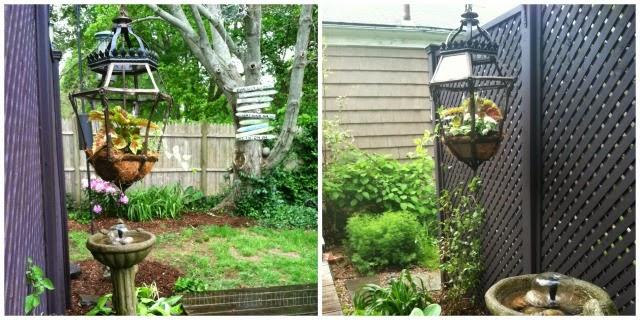 vintage lantern recycled into a planter, garden art, debbbie miller