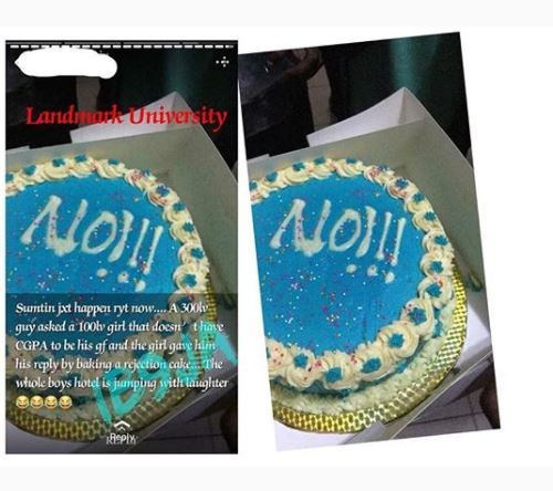 """Nawa Oh! Landmark University Student Receives A """"NO Cake"""" From The Girl He Asked Out 