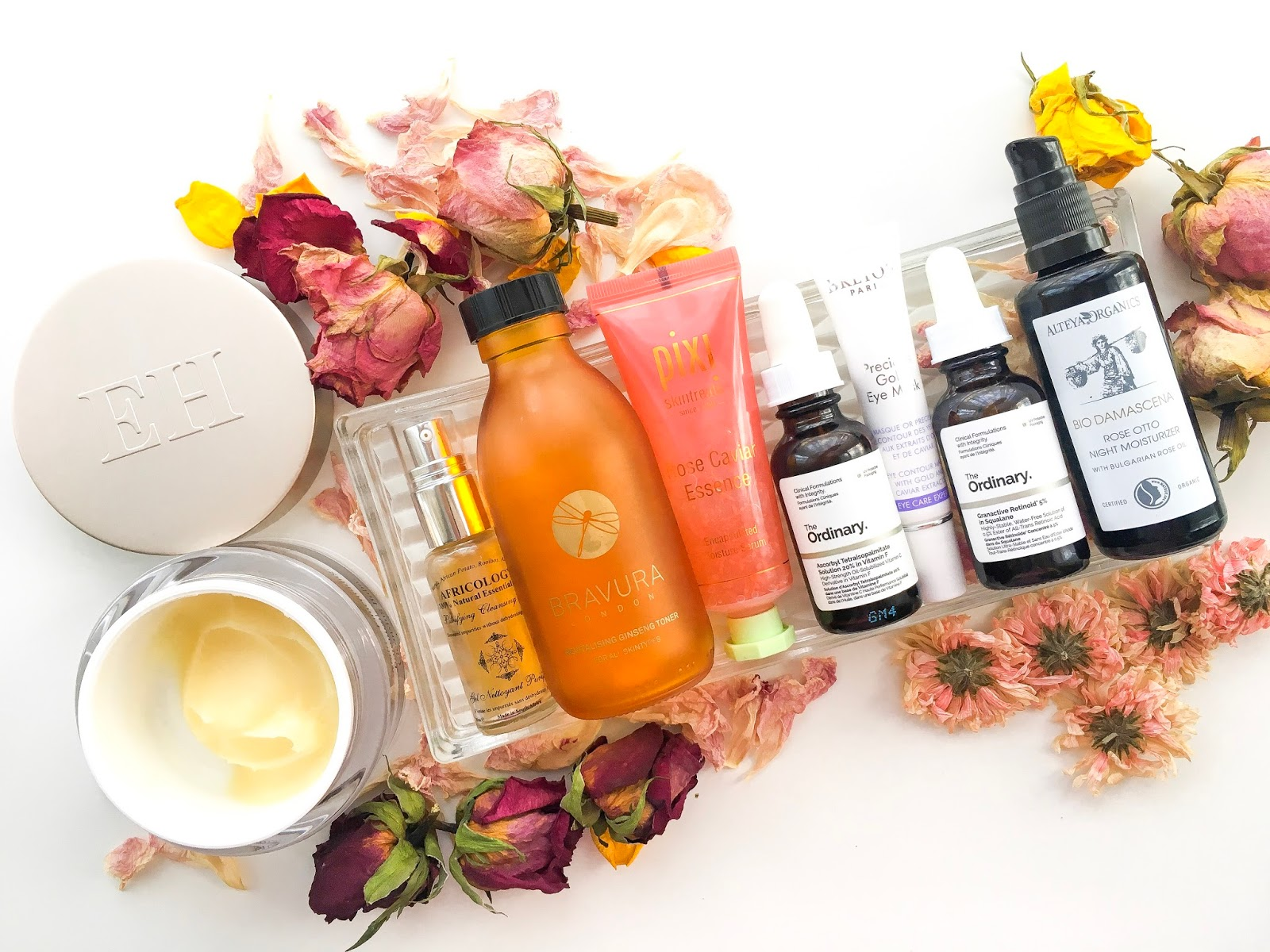 skincare routine, current skincare picks, emma hardie moringa cleansing balm review, bravura ginseng toner review, pixi rose essence review, christian breton gold eye mask review, alteya organics night cream review, the ordinary vitamin c review, africology cleansing gel review