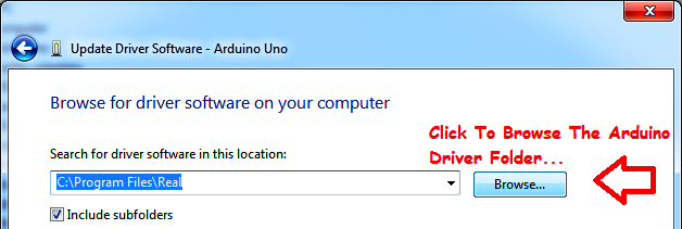 Click Browse Button, to browse the driver folder.