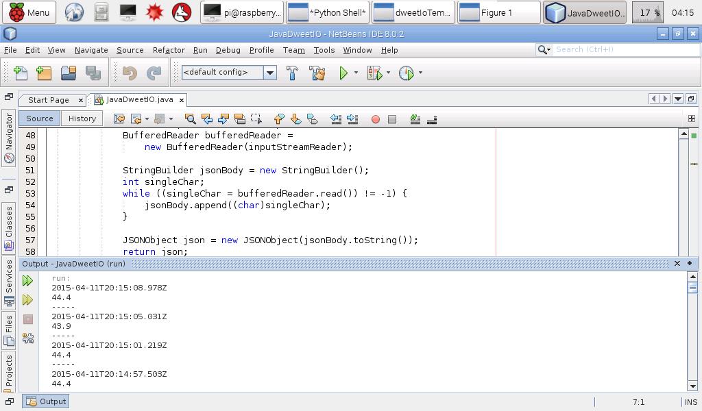 Hello Raspberry Pi: Read dweet io JSON using Java, develop