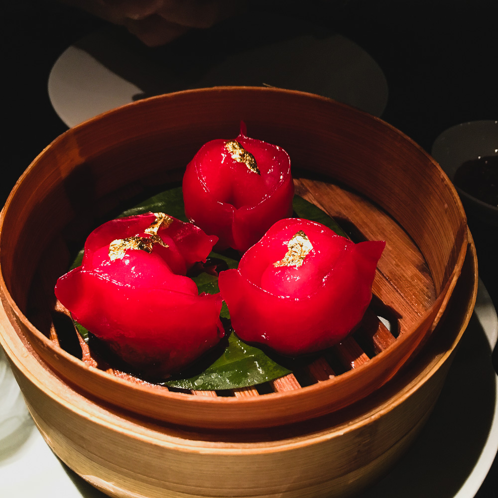 gold leaf lychee and lobster dumpling Hakkasan Hanway Place