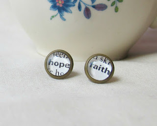image typography earrings ear studs love hope faith wish yes no asymmetrical dictionary page two cheeky monkeys jewellery jewelry