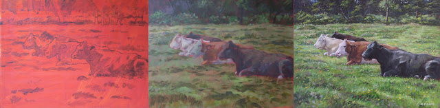 acrylic painting cattle resting in field