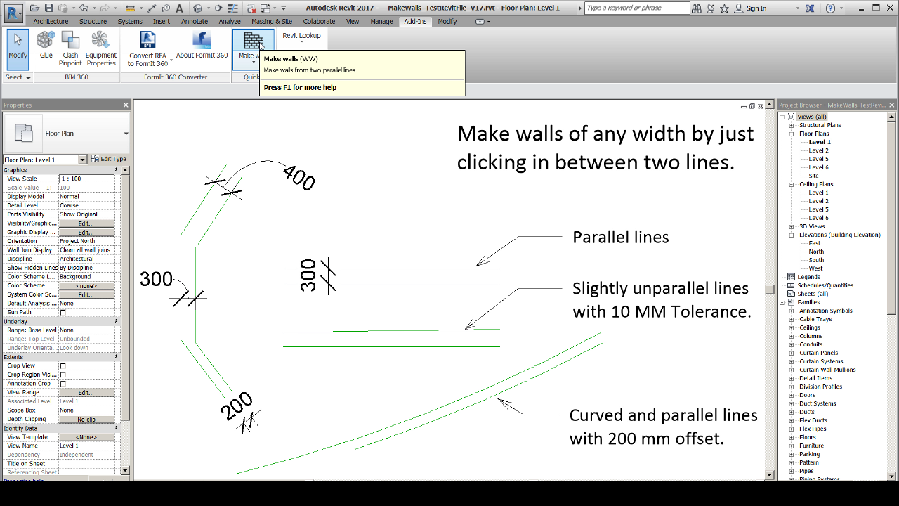 Revit Add-Ons: Make Walls – Create Variable-Width Walls From