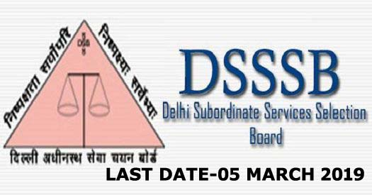 DSSSB recruitment 2019 online for various posts