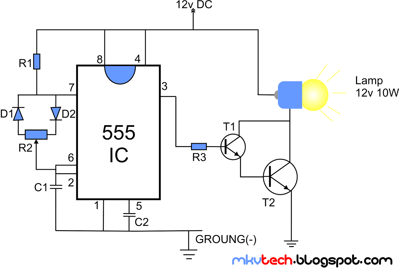diy pwm lamp dimmer using 555 ic