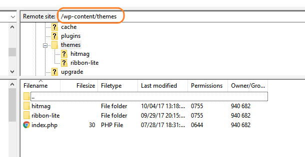 open theme directory in ftp server