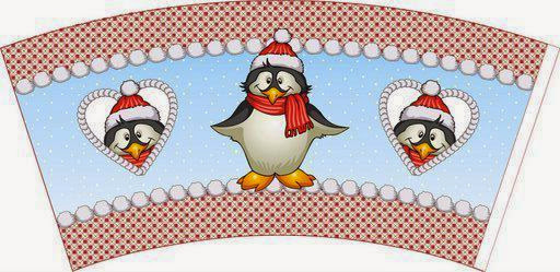 Party Favor Box Holiday Design Penguins- Gift Box Digital Printable Christmas Penguin Cupcake Box