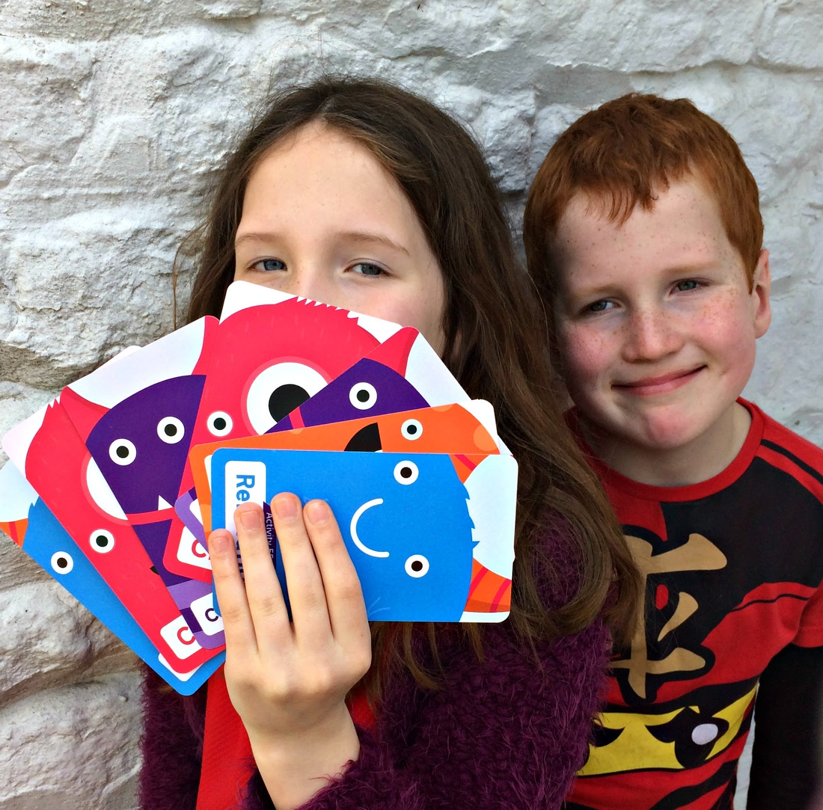 Caitlin & Ieuan with Scope's Mindful Monsters Cards