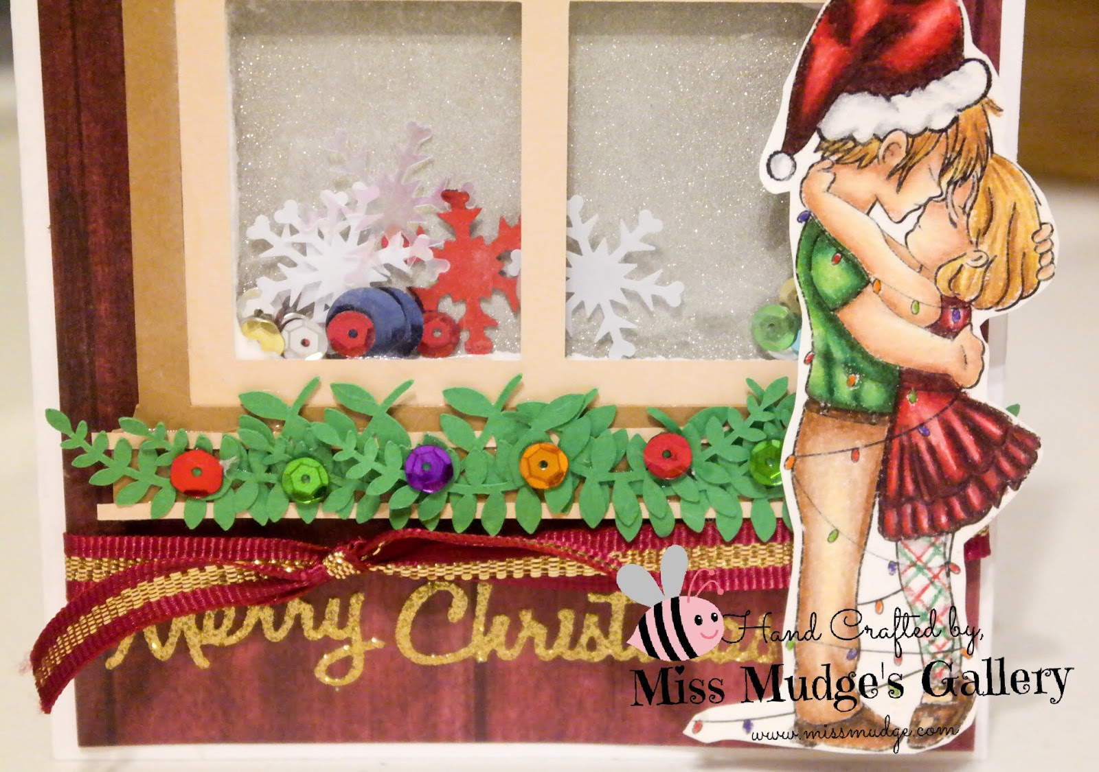 Miss mudges gallery sasayaki glitter christmas shaker card i colored the image with my prismacolors using the pencils themselves as the blending agent on canson mi teintes white paper m4hsunfo