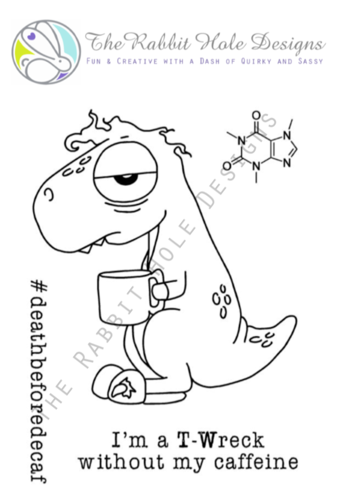 CAFFEINATED: Dino Clear Stamp 3x4