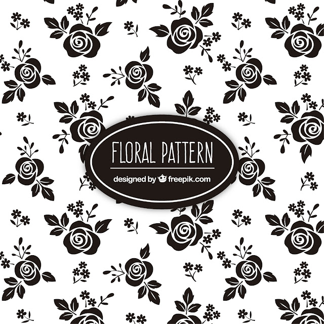 Black roses floral pattern