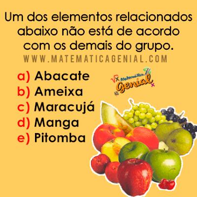 Desafio da Frutas: Alguma não está de acordo com o grupo